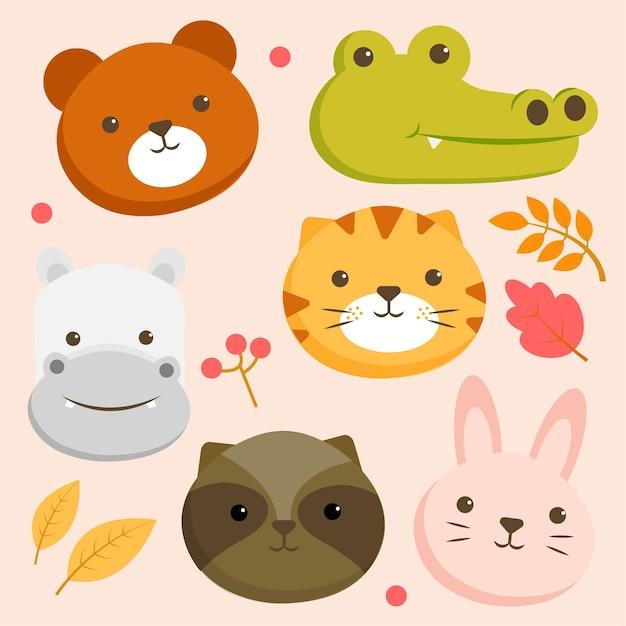 Zestaw Postaci Zwierząt Z Twarzą Niedźwiedzia, Krokodyla, Hipopotama, Tygrysa I Królika Darmowych Wektorów