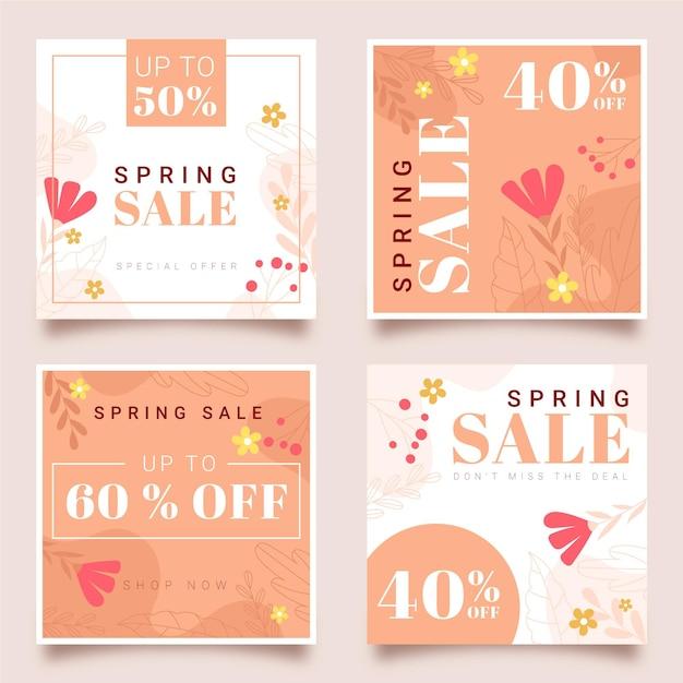 Zestaw Postów Na Instagramie Wiosennej Sprzedaży Darmowych Wektorów
