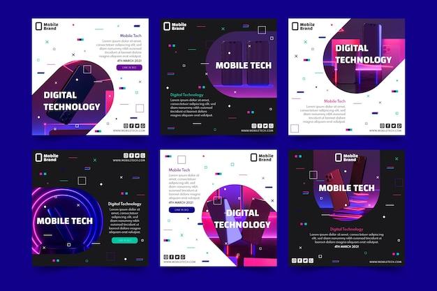 Zestaw Postów Na Instagramie Z Technologią Mobilną Premium Wektorów