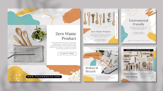 Zestaw Postów Na Instagramie Zero Waste Premium Wektorów