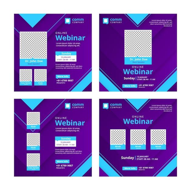 Zestaw Postów Na Webinarium W Mediach Społecznościowych Premium Wektorów