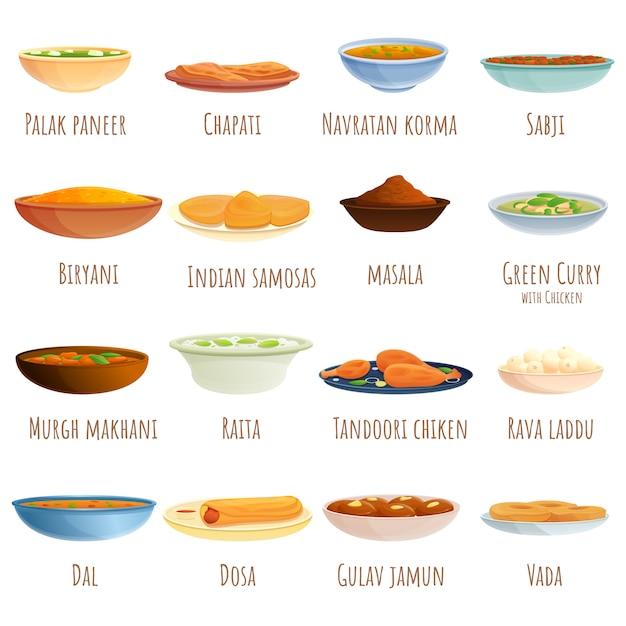 Zestaw Potraw Kuchni Indyjskiej I Zestaw Talerzy, Stylu Cartoon Premium Wektorów
