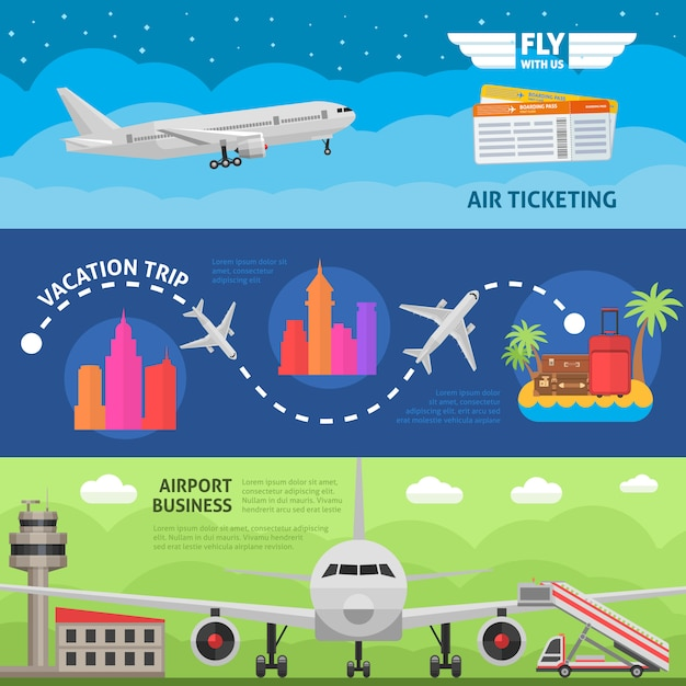 Zestaw Poziome Banery Podróży Lotniczych Darmowych Wektorów