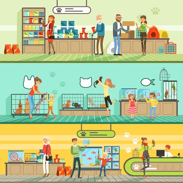 Zestaw Poziome Banery Sklepu Zoologicznego, Ludzie Kupujący Zwierzęta, Ryby Akwariowe, Karma Dla Zwierząt, Klatka, Akcesoria Do Pielęgnacji Kolorowe Szczegółowe Ilustracje Premium Wektorów