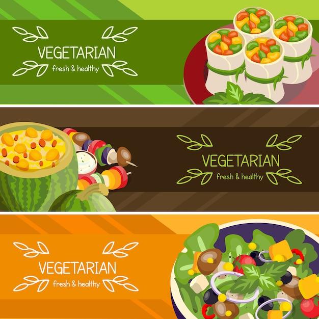 Zestaw poziome banery wegetariańskie żywności Darmowych Wektorów