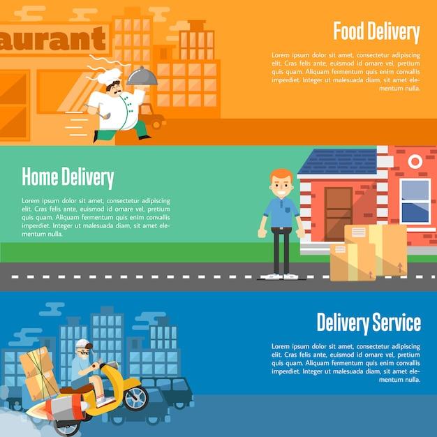 Zestaw poziome bannery usługi dostawy Premium Wektorów