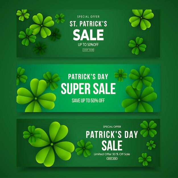 Zestaw Poziome Transparent Sprzedaż Dzień świętego Patryka Z Liści Koniczyny Premium Wektorów