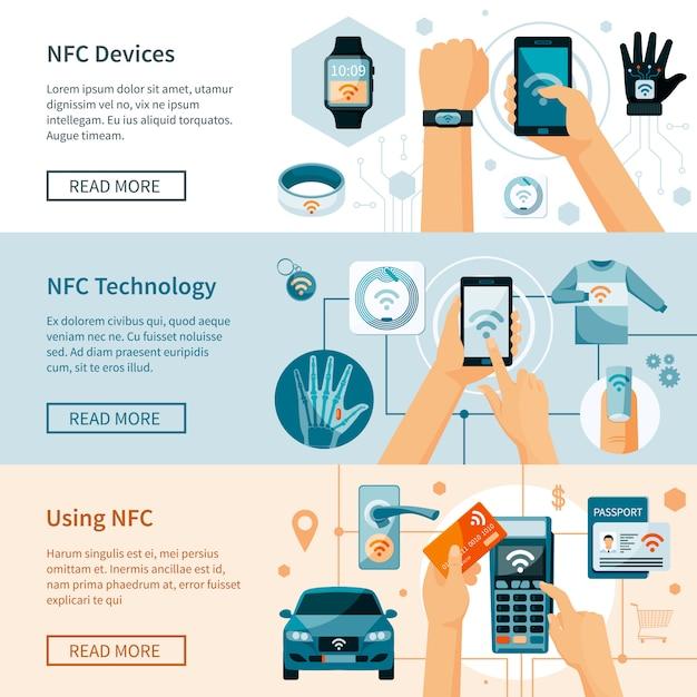 Zestaw poziome transparenty technologii nfc Darmowych Wektorów