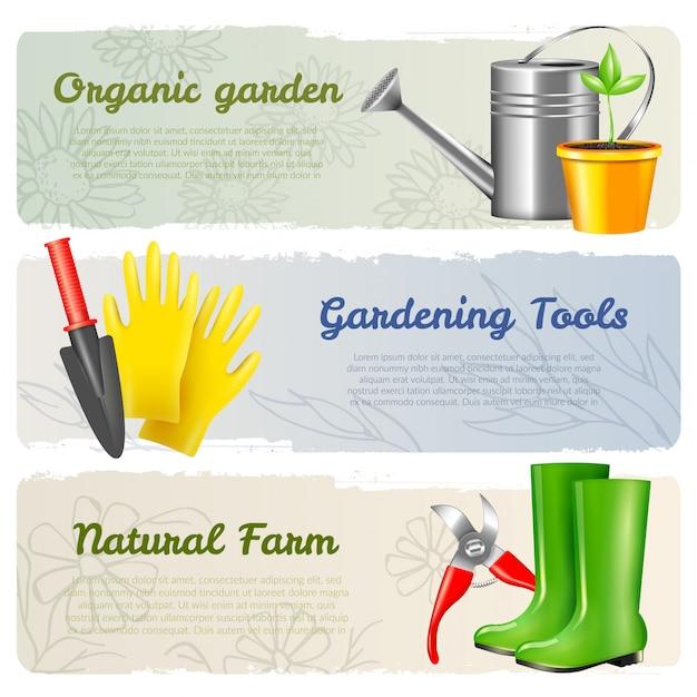 Zestaw Poziomy Banery Ogrodnicze Darmowych Wektorów