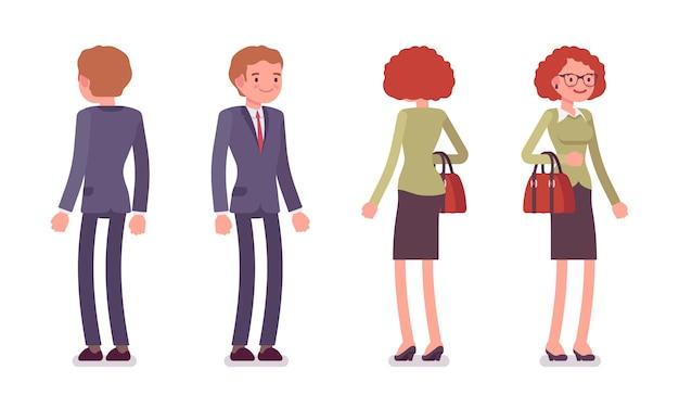 Zestaw pracowników biurowych mężczyzn i kobiet stojących, z tyłu, z przodu Premium Wektorów