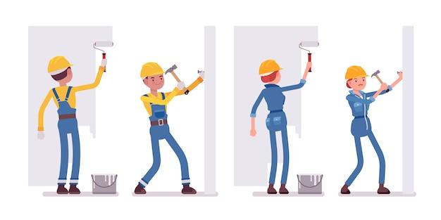 Zestaw pracowników płci męskiej i żeńskiej, praca ze ścianami Premium Wektorów