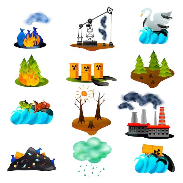 Zestaw Problemów Ekologicznych Darmowych Wektorów