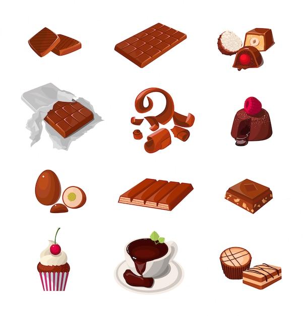 Zestaw Produktów Czekoladowych. Różne Słodycze Cukiernicze. Na Białym Tle Realistyczne Ilustracje. Premium Wektorów