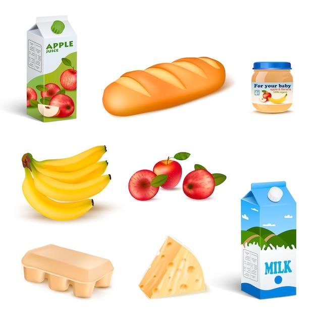 Zestaw Produktów Na Białym Tle żywności W Supermarkecie Darmowych Wektorów