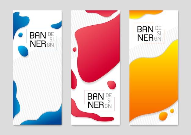 Zestaw projekt streszczenie tło stałego banner płynnych kolorów Premium Wektorów