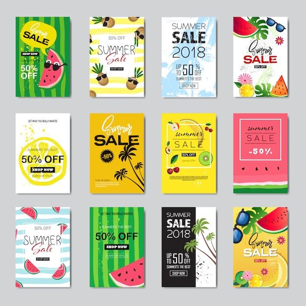 Zestaw Projekt Transparentu Letniej Sprzedaży. Premium Wektorów