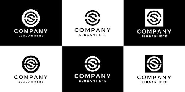 Zestaw Projektowania Logo Cs Streszczenie Litery. Premium Wektorów