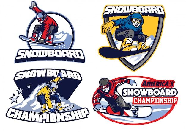 Zestaw Projektowania Odznak Snowboardowych Premium Wektorów