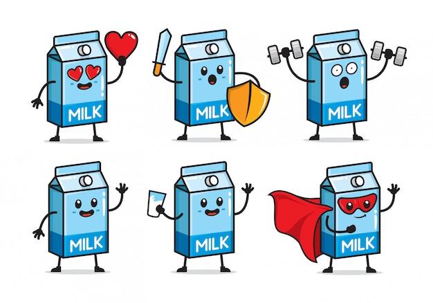 Zestaw Projektowania Postaci Mleka Premium Wektorów