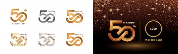 Zestaw Projektu Logotypu 50-lecia, Obchody 50-lecia Rocznicy Premium Wektorów