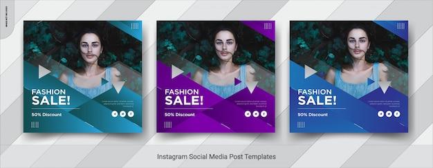 Zestaw Projektu Szablonu Fashion-insta Post W Mediach Społecznościowych Premium Wektorów