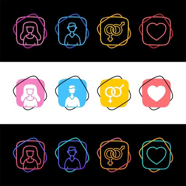 Zestaw Prostej Awatara Seks Mężczyzna I Kobieta Kolorowe Ikony W Trzech Stylach. Mężczyzna Famale I Miłość Serca Premium Wektorów