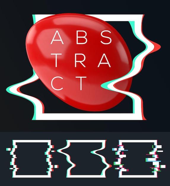 Zestaw Prostych Geometrycznych Kwadratów Z Efektem Usterki Dla Twojej Abstrakcyjnej Nowoczesnej Kompozycji. Premium Wektorów