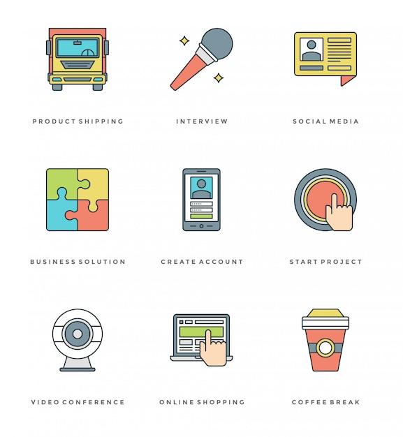 Zestaw prostych ikon płaskiej linii. cienkie liniowe symbole obiektów essentials Premium Wektorów