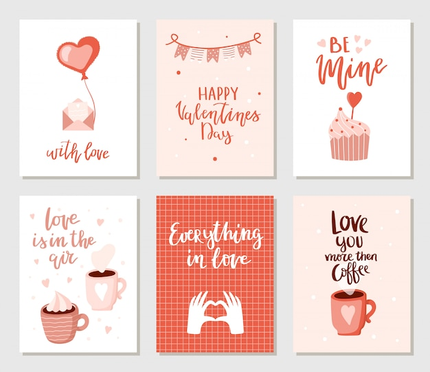 Zestaw prostych wyciągnąć rękę kart valentines. Premium Wektorów