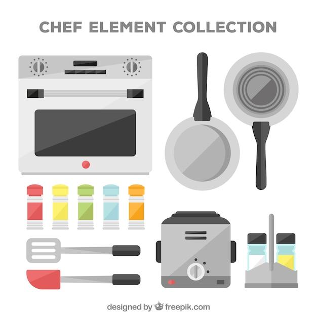 Zestaw przedmiotów dla kucharzy płaskich Darmowych Wektorów