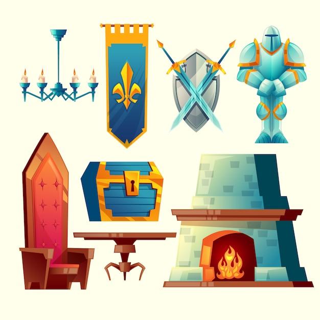 Zestaw przedmiotów fantasy, obiekty projektowania gier bajkowych do wnętrz Darmowych Wektorów