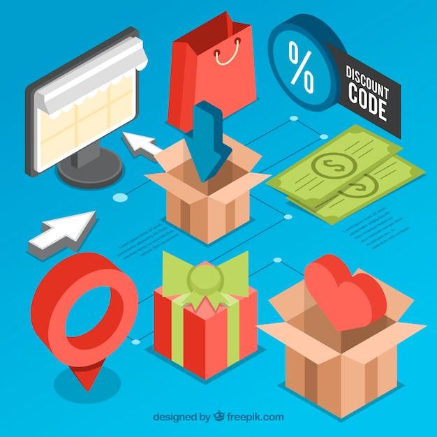 Zestaw Przedmiotów Izometrycznych Do Zakupu Online Darmowych Wektorów