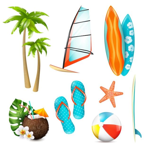 Zestaw przedmiotów wakacje lato surfowania Darmowych Wektorów