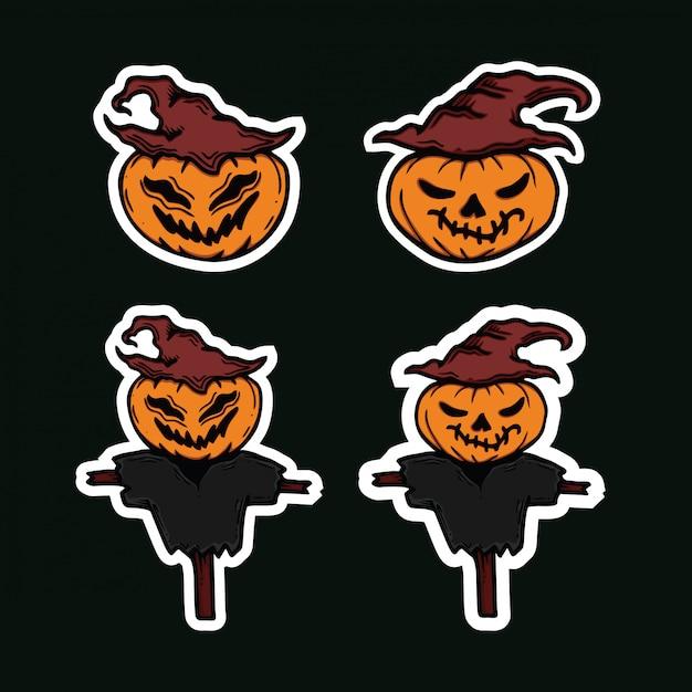Zestaw przerażające dynie halloween znaków Premium Wektorów