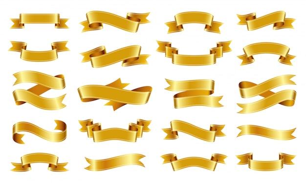 Zestaw Przewijania Złota Wstążka. Premium Wektorów