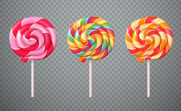 Zestaw przezroczystego tła realistyczne lollipops Darmowych Wektorów