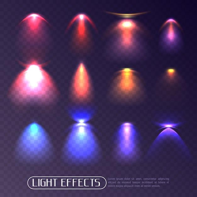 Zestaw przezroczystych kolorowych efektów świetlnych Darmowych Wektorów