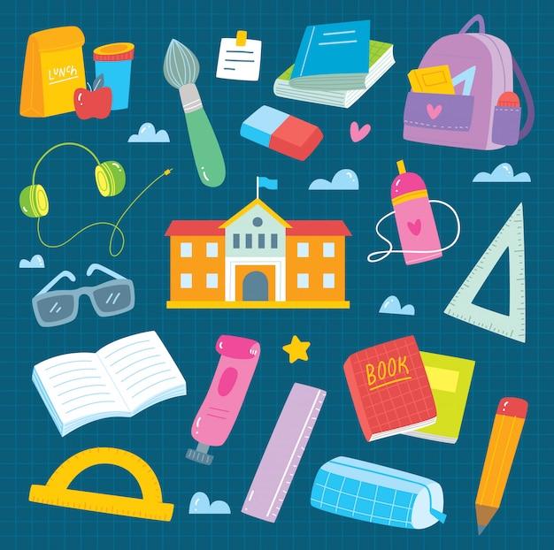 Zestaw Przyborów Szkolnych Doodle Premium Wektorów