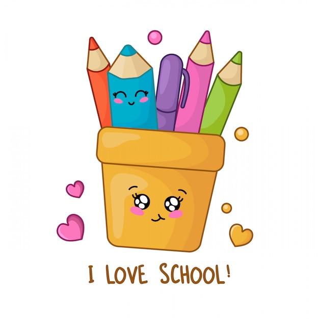 Zestaw Przyborów Szkolnych Kawaii, Powrót Do Koncepcji Szkoły, Premium Wektorów