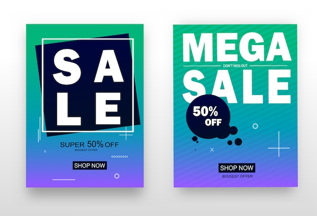 Zestaw Przyciągających Wzrok Banerów Internetowych Na Zakupy, Sprzedaż, Promocję Produktu, Wyprzedaż. Premium Wektorów