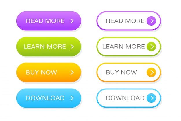 Zestaw Przycisków Do Projektowania Stron Internetowych. Kliknij Przycisk Gradientu, Aby Udekorować Program, Aby Wyglądał Nowocześnie. Premium Wektorów
