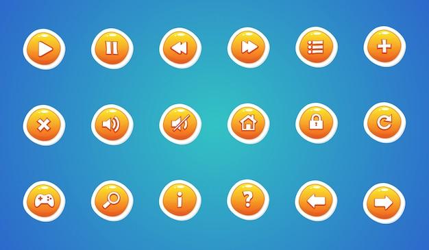Zestaw przycisków interfejsu w kolorze żółtym Premium Wektorów