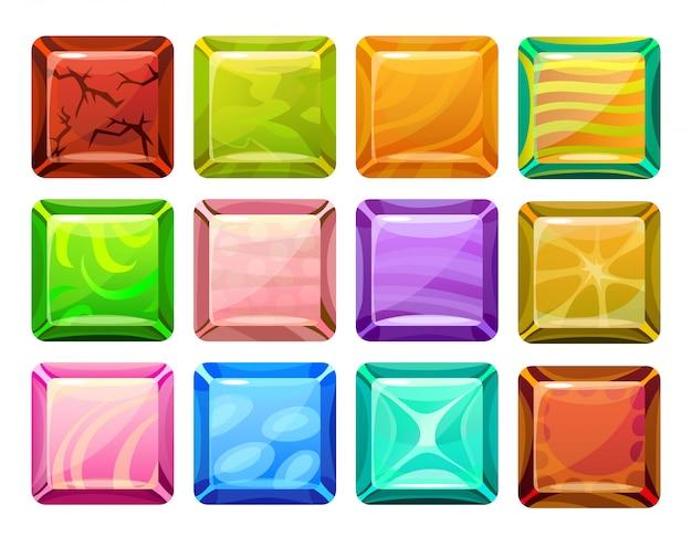 Zestaw Przycisków Kwadratowych Kreskówka Darmowych Wektorów