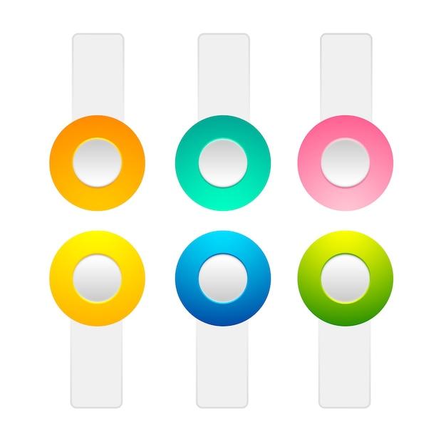 Zestaw Przycisków Przełączających Włączanie I Wyłączanie Kolekcji Pozycji Z Elementami Pomarańczowymi, żółtymi, Zielonymi, Różowymi, Niebieskimi Kółkami I Białymi Paskami Darmowych Wektorów