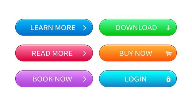Zestaw Przycisków Streszczenie Nowoczesny Interfejs. Gotowy Szablon Wektor Przycisków W Różnych Kolorach Do Projektowania Stron Internetowych Premium Wektorów