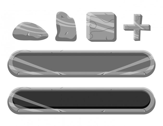Zestaw Przycisku Rock Ui Gry I Elementy Ikon Premium Wektorów