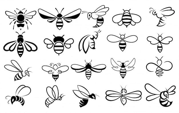 Zestaw Pszczół. Kolekcja Stylizowanych Pszczół Miodnych Premium Wektorów
