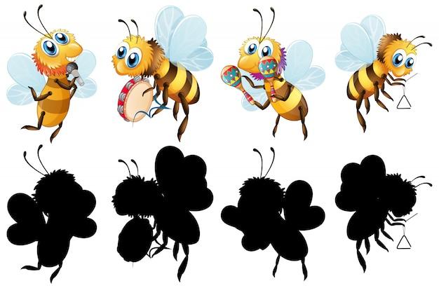 Zestaw Pszczoły Z Instrumentem Muzycznym Darmowych Wektorów