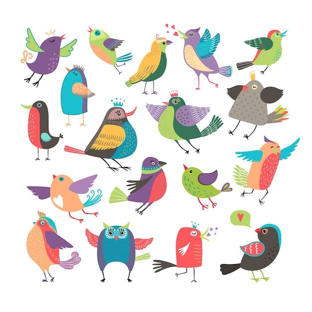 Zestaw Ptaków Kreskówka Wektor ładny Darmowych Wektorów