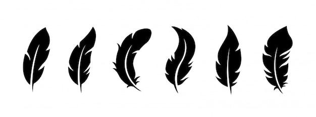 Zestaw Ptasich Piór Na Białym Tle. Premium Wektorów